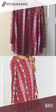 Show me your mumu Tyler Mi amor print long sleeve Tyler tunic! Perfect condition Show Me Your MuMu Tops