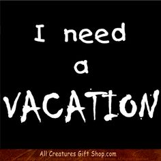 I need a VACATION is a Funny Tshirt you can wear to tell the world what you think!  I think if my alarm clock goes off one more time, just to send me to my soul-shriveling slave-wage job, i'm gonna crack!  How about you? *** PLEASE NOTE: The URL bar, TM & © won't be on the product you order. :-)