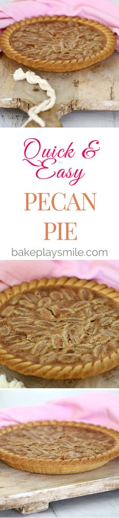The perfect combination of nuts and caramel in one delicious quick & easy Pecan Pie. This is one of my absolute favourite desserts (especially with a big scoop of ice-cream!). #pecan #pie #dessert #easy #easyrecipes http://www.bakeplaysmile.com/pecan-pie/