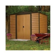 This Garden Storage Shed provides the ultimate durability with a charming decor that would enhance any yard or garden. The Frame is made of sturdy galvanized Steel to prevent corrosion. Plank like Siding, with a wood grain pattern, encompasses the exterior. A Double Door allows you to move equipment, tools and gardening supplies easily in and out. Free Shipping!
