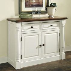 Home Styles Monarch Dining Buffet - White & Oak - The Home Styles Monarch Dining Buffet - White & Oak will be the go-to serving and storage hub of your kitchen or dining area. This spacious, versatile. Dining Buffet, Sideboard Buffet, Kitchen Dining, Dining Room, Buffet Cabinet, White Sideboard, Kitchen Redo, Dining Area, Kitchen Buffet