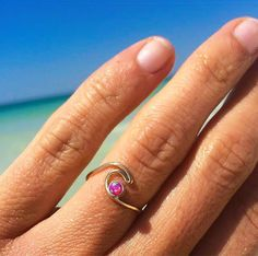 Select from Sterling Silver or Gold Fill hand formed wave featuring a Pink Opal stone with beautiful flashes of iridescent color in the sunshine. Perfect for surfers and ocean lovers alike!Select size in menu Wave Jewelry, Beach Jewelry, Surfer Style, Wave Ring, Pretty Rings, Pink Opal, Jewelery, Wire Jewellery, Silver Rings