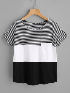 Shop Patch Pocket Front Cut And Sew T shirt online. SheIn offers Patch Pocket Front Cut And Sew T shirt & more to fit your fashionable needs. Trendy Outfits, Cute Outfits, Fashion Outfits, Womens Fashion, Fashion Tips, Ladies Fashion, Fashion Ideas, Sewing Clothes, Diy Clothes