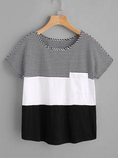 Camiseta con costuras y bolsillo -Spanish SheIn(Sheinside)