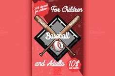 Color vintage baseball poster by Netkoff on @creativemarket
