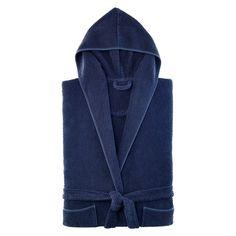 Kassatex Abeille Bathrobe - Indigo (Blue), Adult Unisex