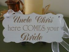 Personalised Wedding Here Comes The Bride Sign Vintage Shabby Wooden Plaque