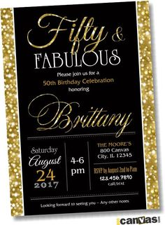 Invitation wording for when guests pay for their meal diy for 50th birthday invitation fifty and fabulous golden 50 gold glitter glam birthday invite stopboris