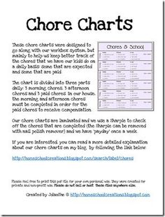 Free chore charts for kids ages preschool through elementary.