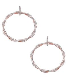 Genevive By CZC Twisted Rose Gold And CZ Hoop Earrings