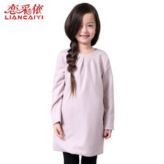 Liancaiyi Fashion Spring Autumn 2017 Girls Dresses Kids Woolen Casual Comfortable Soft Warm Dresses Children Solid Vestidos #Affiliate