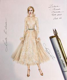 "1,044 Likes, 6 Comments - NataliaZ.Liu (@nataliazorinliu) on Instagram: ""Beautiful Dennis Basso NYC gown @dennisbassonyc #handdrawn #sketch #dennisbasso #nyc #designer…"""