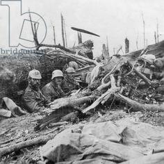 WWI; German soldiers at Verdun, 1916. -Bridgeman Images