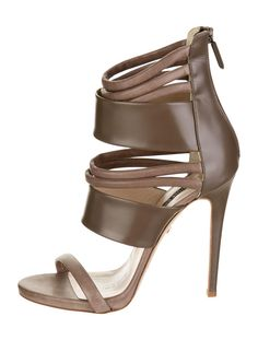 Taupe suede and leather strappy Ruthie Davis Zahara sandals with zip closure at back. Includes original box.