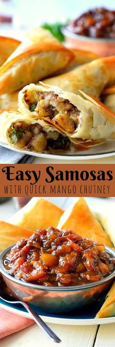This vegan samosa recipe is a quick and easy version of traditional potato samosas with mango chutney. Save time and lighten up your samosas by wrapping them with phyllo dough and baking instead of frying. You get all the flavours of a samosa but without Vegan Samosa Recipes, Vegetarian Recipes, Cooking Recipes, Healthy Recipes, Curry Recipes, Healthy Menu, Healthy Salads, Healthy Eating, Indian Food Recipes