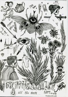 Tattoo flash sheets created by Izabella Dawid Wolf. Visit her tumblr here: http://blameyourparents.tumblr.com/ Contact her at: kusiakawa@hotmail.co.uk