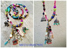 """MICCI COHAN NYC Jewelry: """"Jamila"""" Native Ethnic Long Beaded Tassel & Cotton Tassel Antique Silver Charm Necklace,Holiday Jewelry / Christmas Gifts - One of a Kind"""