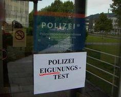 Geeignet - Eigunungstest,Eignungstest,tippfehler,schreibfehler,rechtschreibfehler,polizei