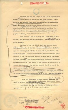 """This earlier typed and hand-annotated draft of General Eisenhower's D-Day """"Order of the Day"""" message provides us an insight into his thoughts, as he reordered parts of the message. It was only declassified in 1973. Via the Dwight D. Eisenhower Presidential Library and Museum"""