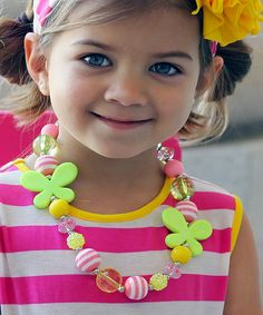 Look at this #zulilyfind! Pink & Yellow Butterfly Chunky Necklace by Sweet Petunia #zulilyfinds