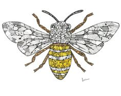 Bee Drawing - Save The Bees by Leanne Karlstrom Bee Drawing, I Love Bees, Sketchbook Project, Bee Tattoo, Bee Art, Bee Design, Bee Theme, Save The Bees, Bees Knees