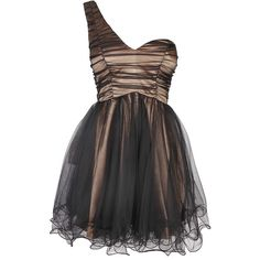 Black One Shoulder Mesh Prom Dress ($55) ❤ liked on Polyvore