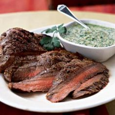 """Doy92064 really loves the sauce for this simple grilled steak, saying, """"Wow—the best pesto without all the oil that packs a nice spicy taste. The pesto really complimented the grilled flatiron steak. Next time will double the recipe in hopes there will be"""