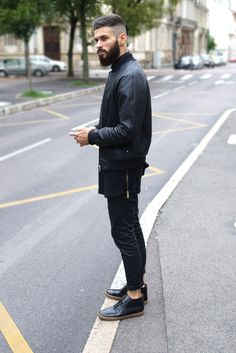 Alkarus in Black leather jacket common projects streetstyle