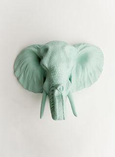 The Sydney - Sea Foam Resin Elephant Head- Resin Seafoam Faux Taxidermy- Chic & Trendy