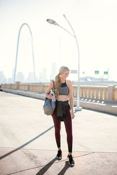 Friday Favorites: Fall Activewear   A Pinch of Lovely   Southern Fashion & Style Blog. Grey and black sport top+burgundy and black sport leggins+black sneakers+black and grey sweater+silver backpack. Late Summer Workout Outfit 2016
