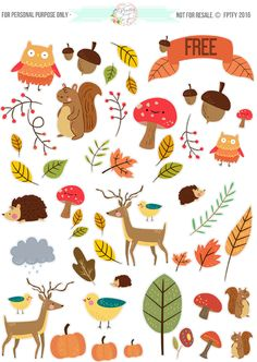 FREE printable Critter Autumn Planner Stickers and Clip Art