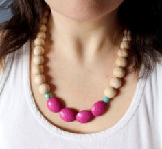 statement necklace, wood beaded necklace, pink teal statement necklace, natural wooden necklace