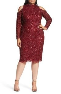 Plus Size Party Dressses with Sleeves - Plus Size Cocktail Dresses. Plus Size Sequin Dresses, Party Dresses With Sleeves, Plus Size Cocktail Dresses, Plus Size Party Dresses, Plus Size Outfits, Dusty Pink Bridesmaid Dresses, Cocktail Bridesmaid Dresses, Curvy Fashion, Plus Size Fashion