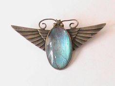 Art Deco Butterfly Wing winged Scarab Brooch