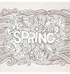 Spring hand lettering and doodles elements vector doodles by kostenkodesign on VectorStock®