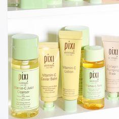 Pixi Beauty's brightening skincare essentials include Vitamin-C Tonic, Vitamin-C Caviar Balm, Vitamin-C Juice Cleanser, Vitamin-C Lotion and Vitamin-C Serum. Caviar, Lotion, Pixi Skintreats, Beauty Uk, Lip Stain, Vitamin C, Cleanser, Body Care, Pixie
