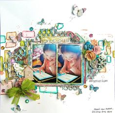 Scraps of Elegance scrapbook kits: Mixed media layout step-by-step video tutorial by Amy Prior. Layout created with the August Mallika's Whimsy kit. Find out kits here: www.scrapsofdarkness.com