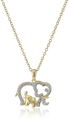 Gold-Plated Silver Animal with Baby Pendant Necklace, 18' >>> Learn more by visiting the image link.