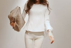 Cheap Wholesale Modern Style Asymmertric Back Hem Scoop Neck Long Sleeve Thicken Cotton Women's Shirt (WHITE,ONE SIZE) At Price 14.48 - DressLily.com