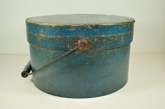 Pantry Box, Bail Handle, Orig.BLUE Paint,ca:1880s.    Sold  Ebay    446.00