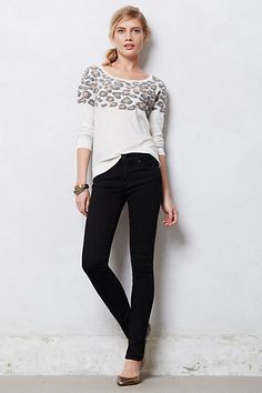 Leopard top with black skinny jeans #anthropologie
