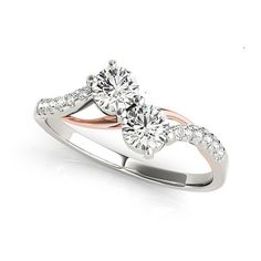 Two Stone Diamond Ring,, Rose Gold and White Gold Diamond Engagement Ring. Two Stone Diamond Ring Together Collection