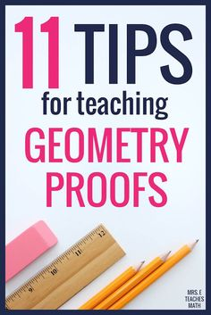 Need help teaching high school geometry proofs? These tips and activities will help students understand how to write proofs and will keep them engaged! There are awesome notes, activities, and worksheets to help. Geometry Help, Geometry Proofs, Geometry Vocabulary, Teaching Geometry, Geometry Activities, Math Vocabulary, Plane Geometry, Geometry Triangles, Geometry Lessons