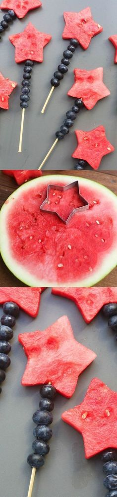 Fruit Sparklers made with watermelon stars and blueberries Tastes Better From Scratch July desserts, recipes Summer Recipes, Holiday Recipes, Holiday Foods, Christmas Recipes, Cute Food, Yummy Food, Awesome Food, Healthy Snacks, Healthy Recipes