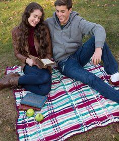 Free crochet Plaid Picnic Throw Blanket Pattern