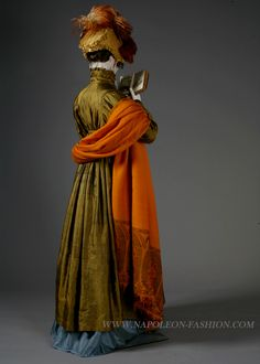 Fancy is as fancy does - silk gowns with plumage are alway stylish, for the Regency upper class.