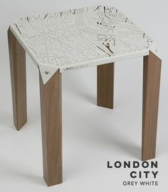 Reflection the beauty of London and New York City on a surface, Map On Table would like to connect your life to the greatest cities. London Map, London City, Nyc, Pretty Cool, Thesis, Grey And White, Maps, Connect, Reflection