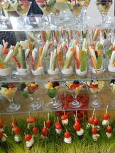 Love this crudité/ fruit station.  Classic wedding station with a decorative twist