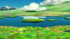 """Howl's Secret Meadow ハウルの動く城 Dir. Hayao Miyazaki """"I think we ought to live happily ever after,"""" and she thought he meant it. Sophie knew that living happily ever after with Howl would be a good. Studio Ghibli Art, Studio Ghibli Movies, Hayao Miyazaki, Film Animation Japonais, Studio Ghibli Background, Howl's Moving Castle, Anime Places, 8bit Art, Japon Illustration"""