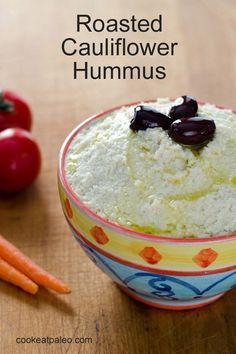 Cauliflower replaces the chickpeas in this paleo version of hummus. This roasted cauliflower hummus recipe is gluten-free, grain-free and dairy-free.